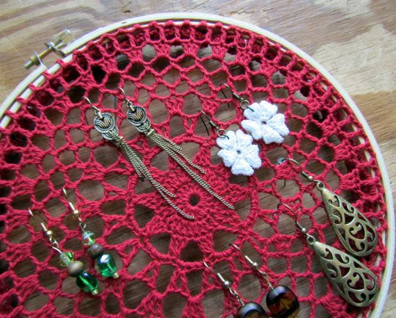 Red Crocheted Doily in Embroidery Hoop Jewelry Organizer Sarah