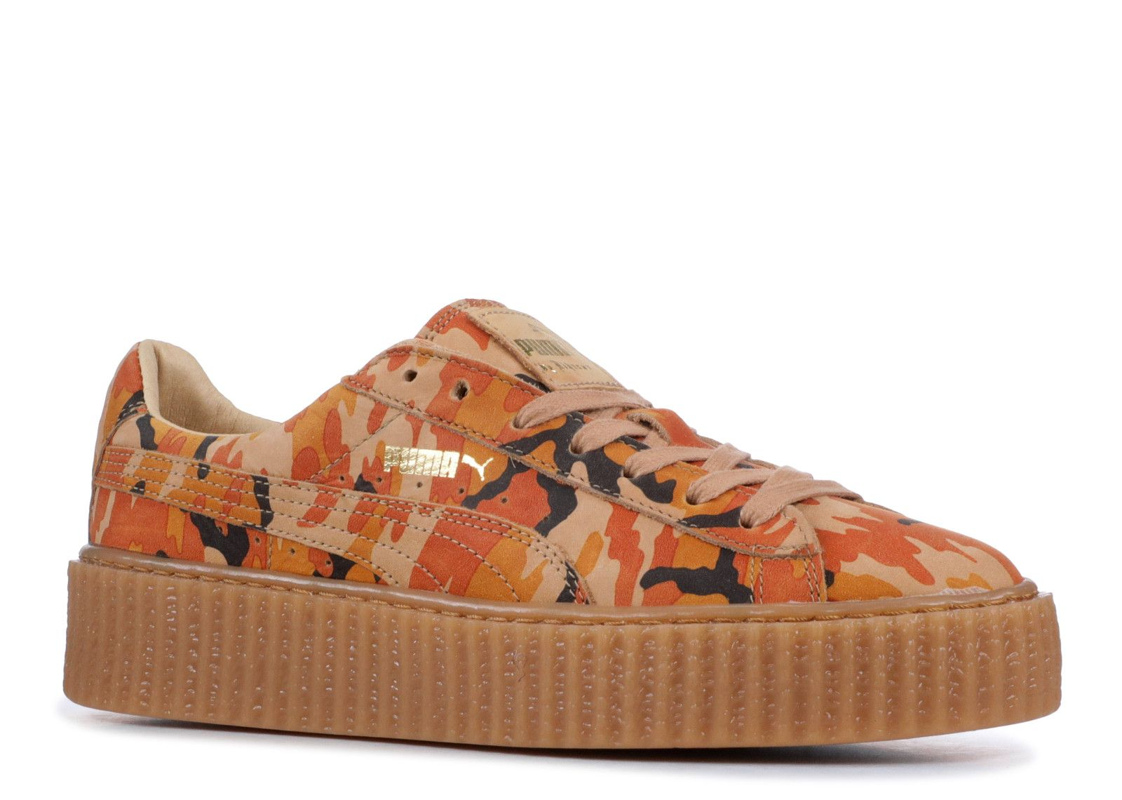 Puma x Rihanna Suede Creepers Camo Orange Orange Oatmeal