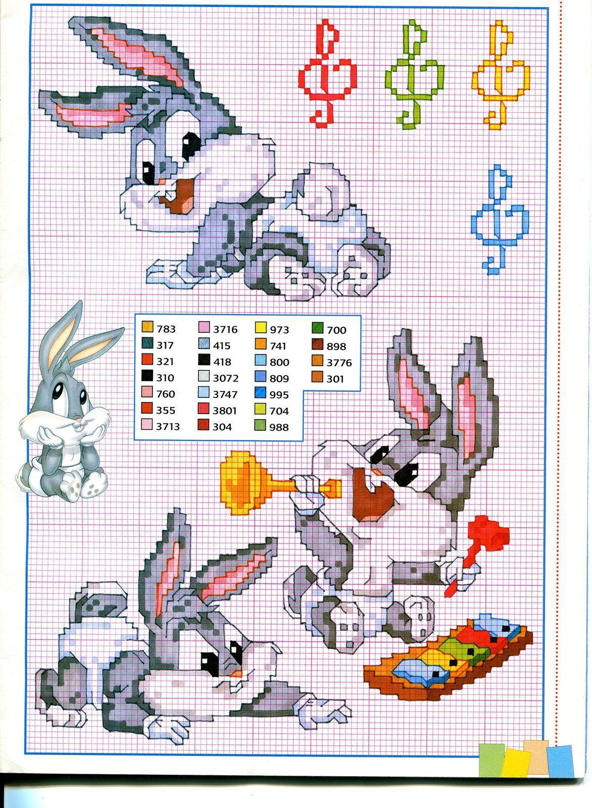Baby bugs bunny e la musica punto croce for Schemi gratis punto croce disney