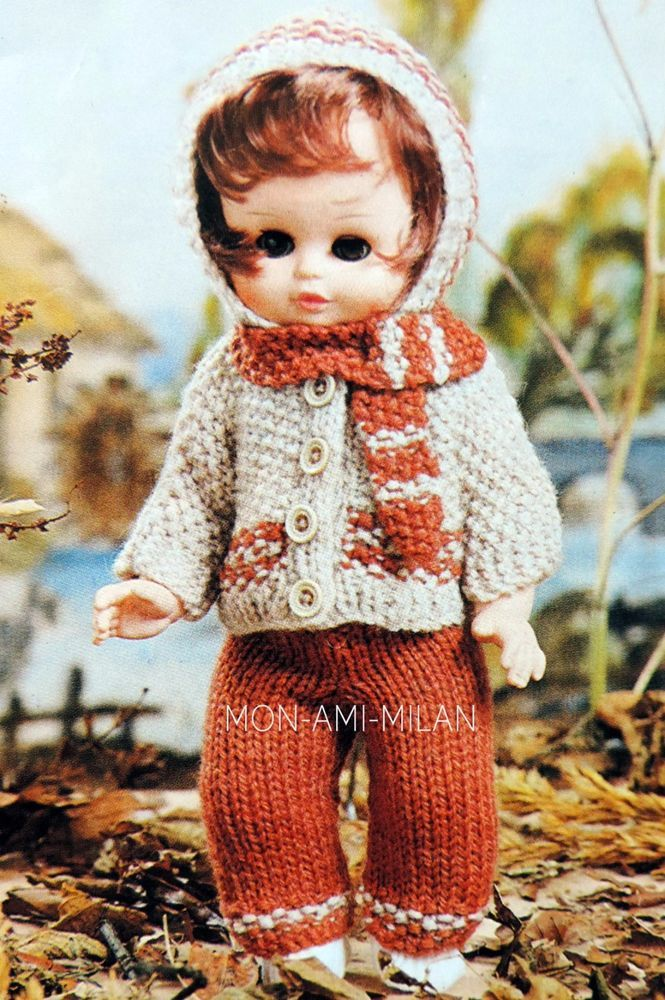 BABY DOLLS CLOTHES Knitting Pattern HOODED JACKET TROUSERS SCARF ...