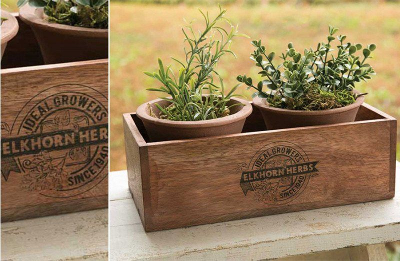 Wooden Herb Box With Handmade Terracotta Pots Egg Hunt Pop Up Shop In 2020 Herb Boxes Terracotta Pots Wooden Planter Boxes