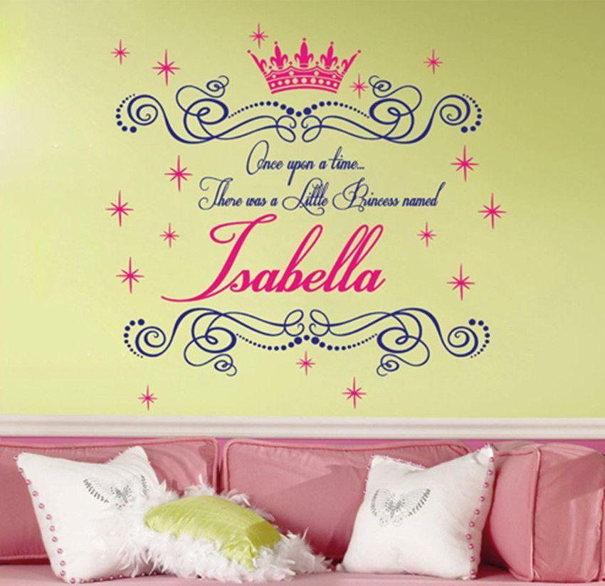 Big Custom Name Once upon a time Princess Room Wall Stickers Art Cut ...