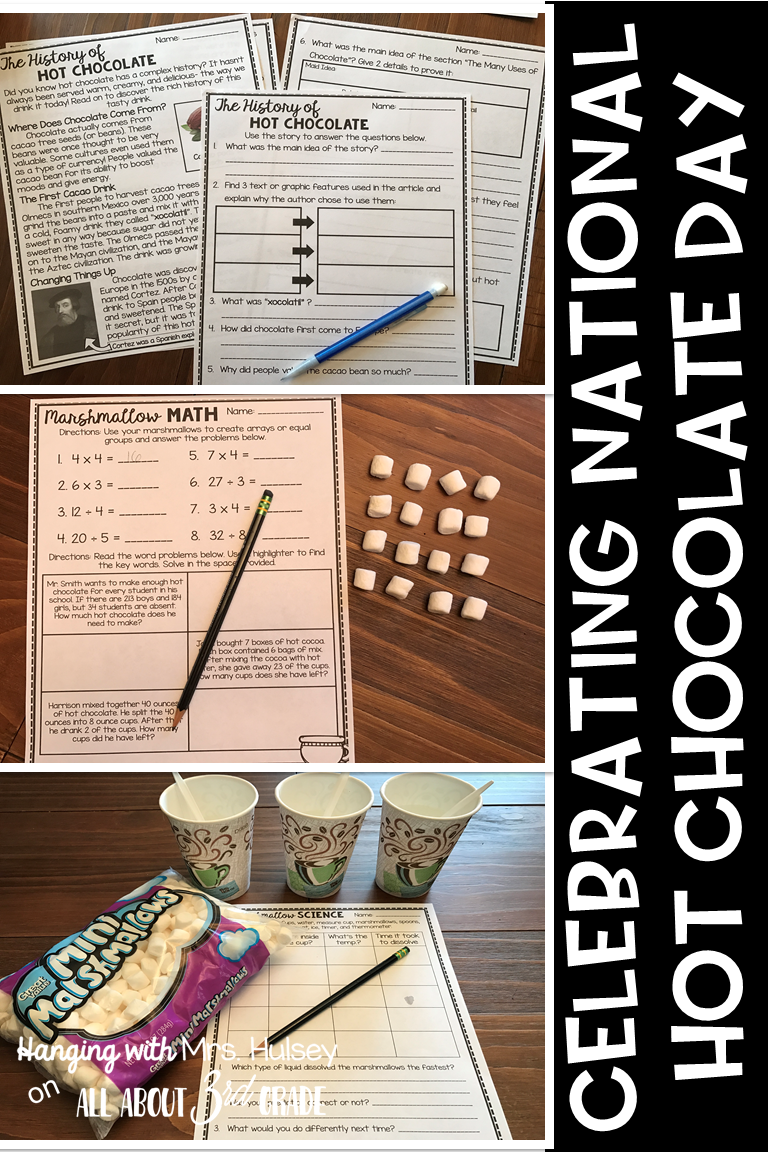 Here's how I plan to celebrate National Hot Chocolate Day in my 3rd grade classroom (with reading, math, science, and writing)