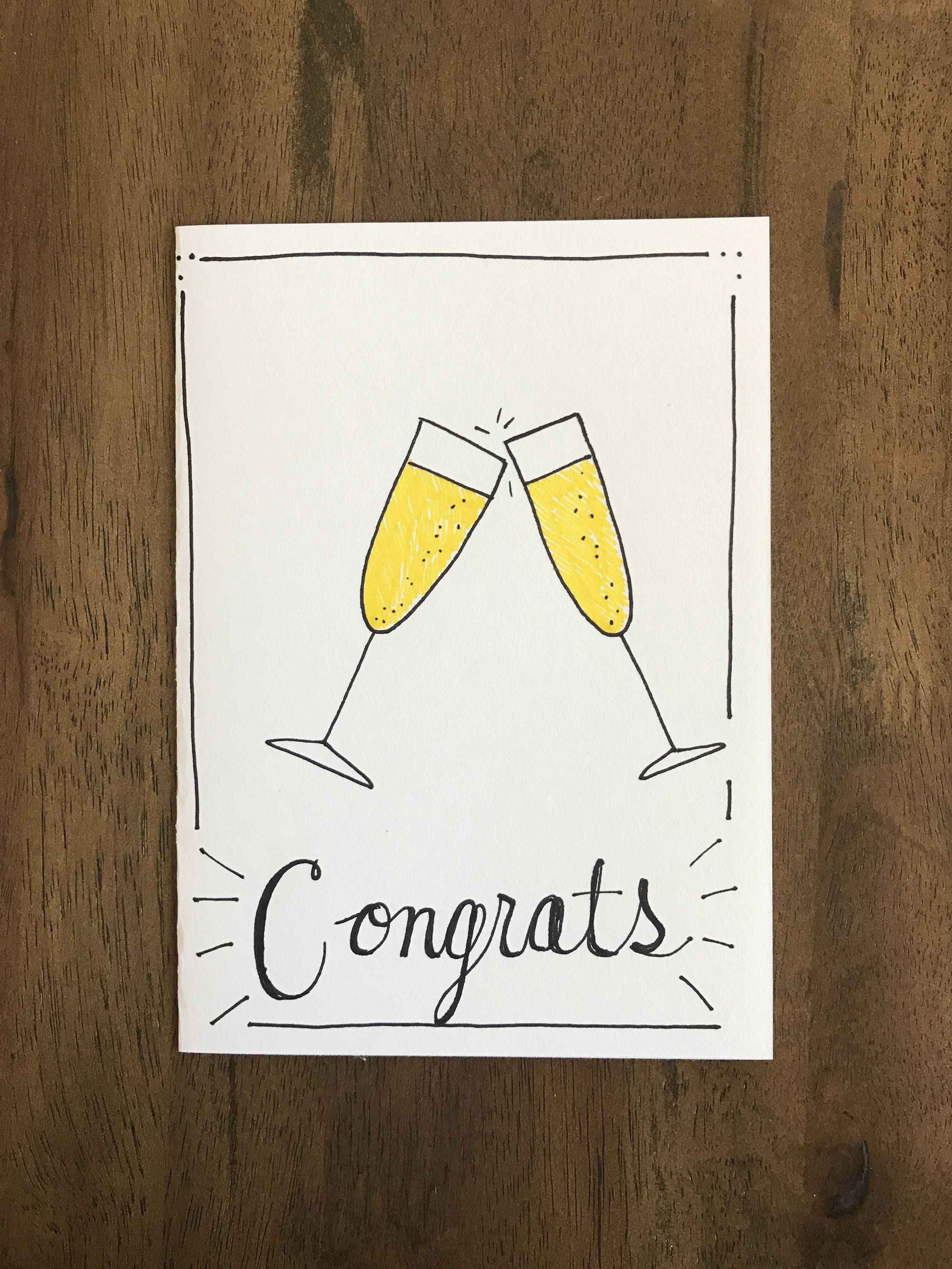 congrats champagne glasses card 5x7 with envelope celebrate
