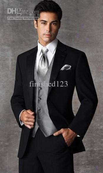 Custom Made Two Ons Slim Fit Black Groom Tuxedos Notch Lapel Best Man Groomsmen Men Wedding Suits Jacket Pants Tie Vest Ok 899 Mens Dress