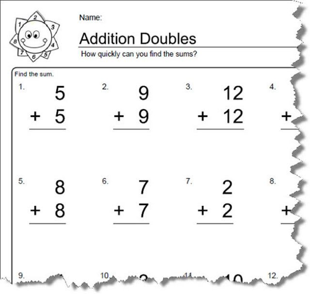 Worksheets for Elementary Math Doubles Addition – Addition Worksheet 2nd Grade