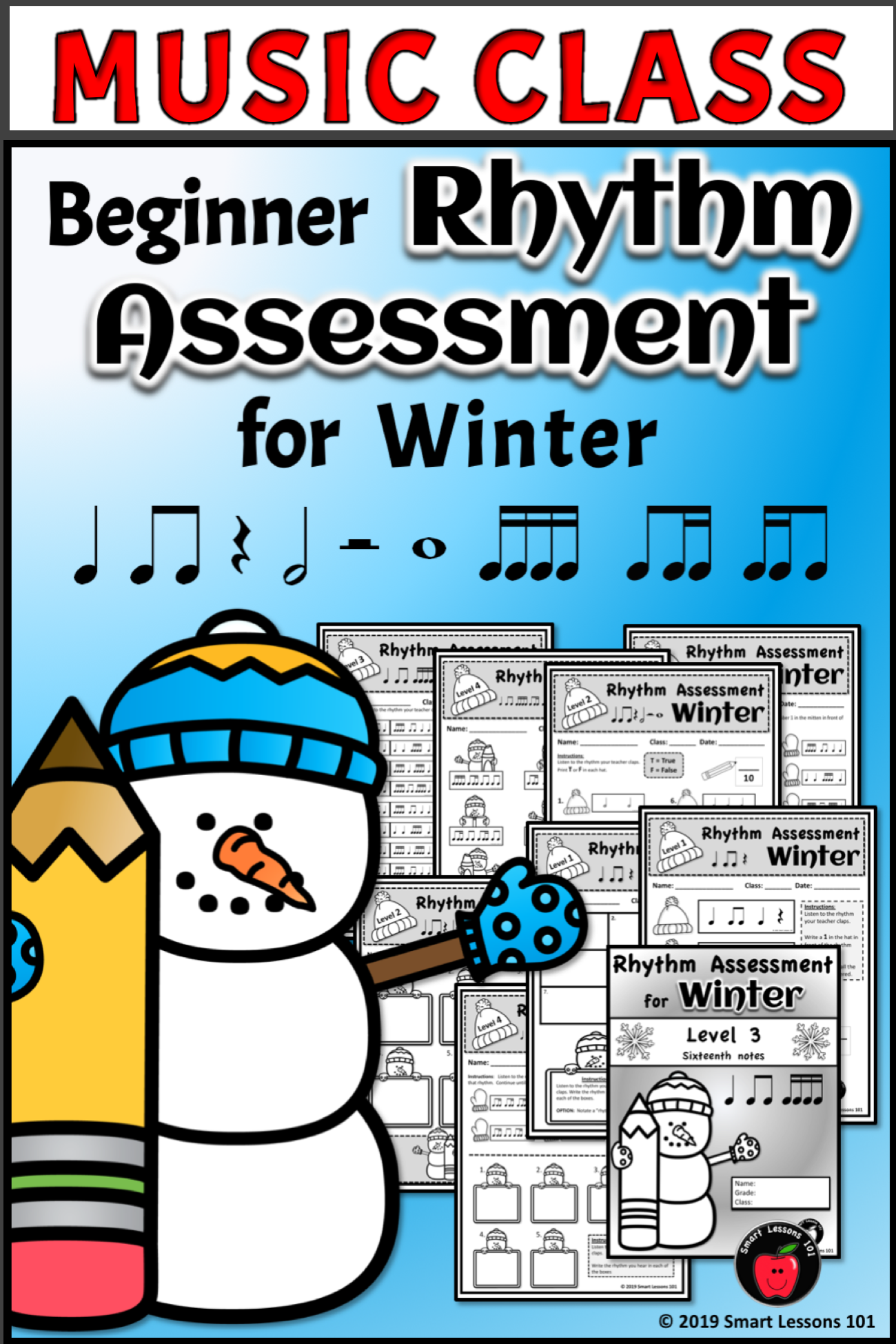 Rhythm Assessment Bundle Rhythm Worksheets Winter Music