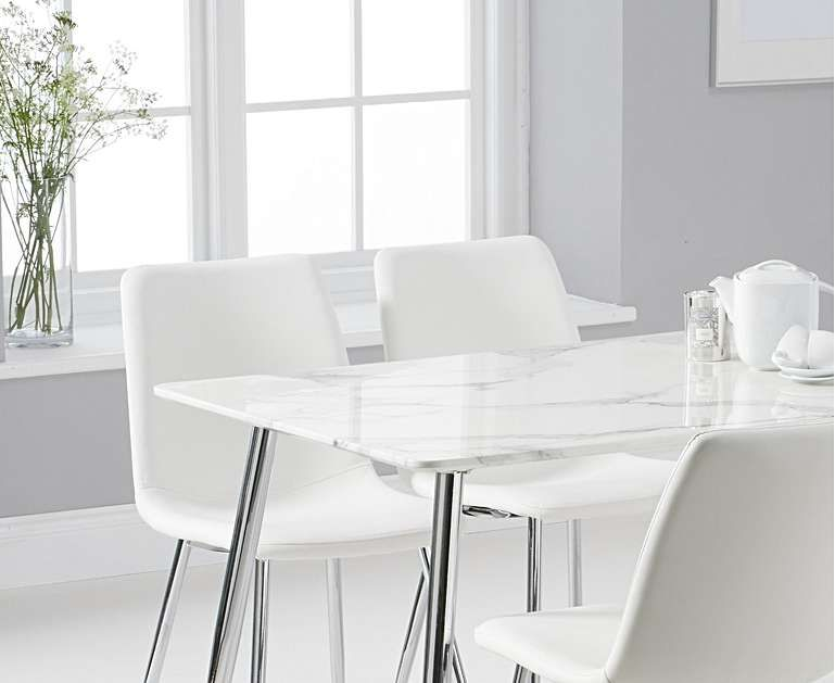 Cecily 120cm High Gloss Carrera Grey Dining Table With Helsinki