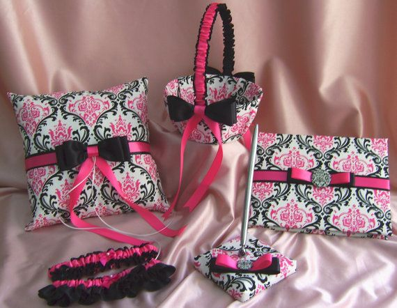 Damask ring cushion Madison print damask and fuchsia pink ring bearer pillow Wedding pillow