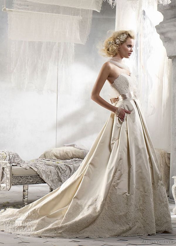 Alvina valenta wedding dresses spring 2012 ribbon belt for Silk organza wedding dress