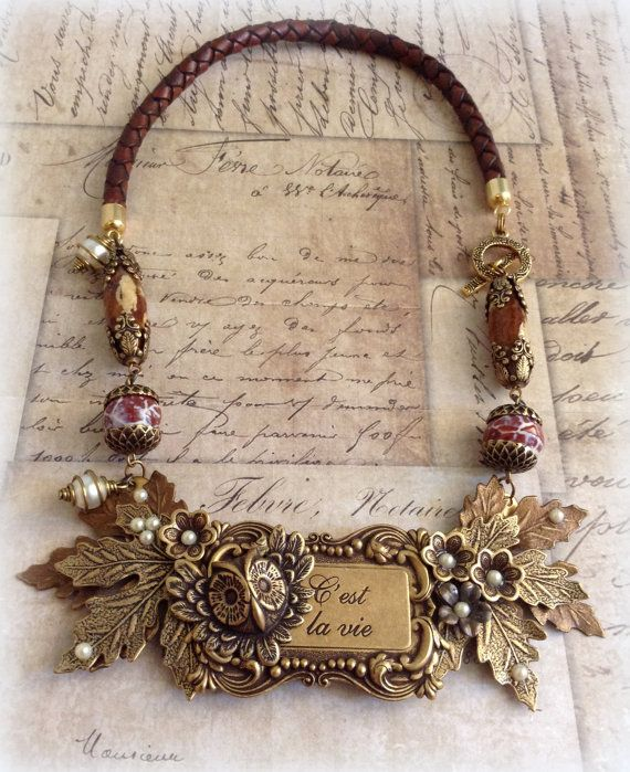 C' est la vie Collage Necklace. Owl. Flowers by ClockHandsGoneMad