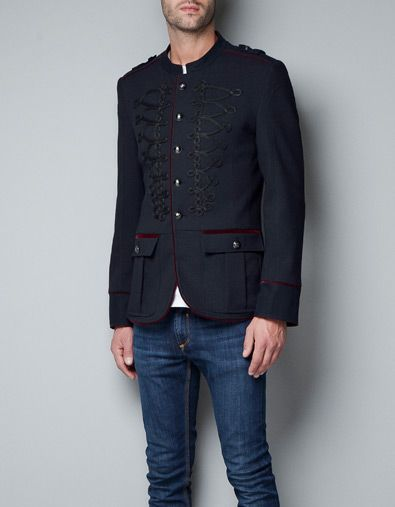 military jacket with toggles and metallic buttons. Black Bedroom Furniture Sets. Home Design Ideas