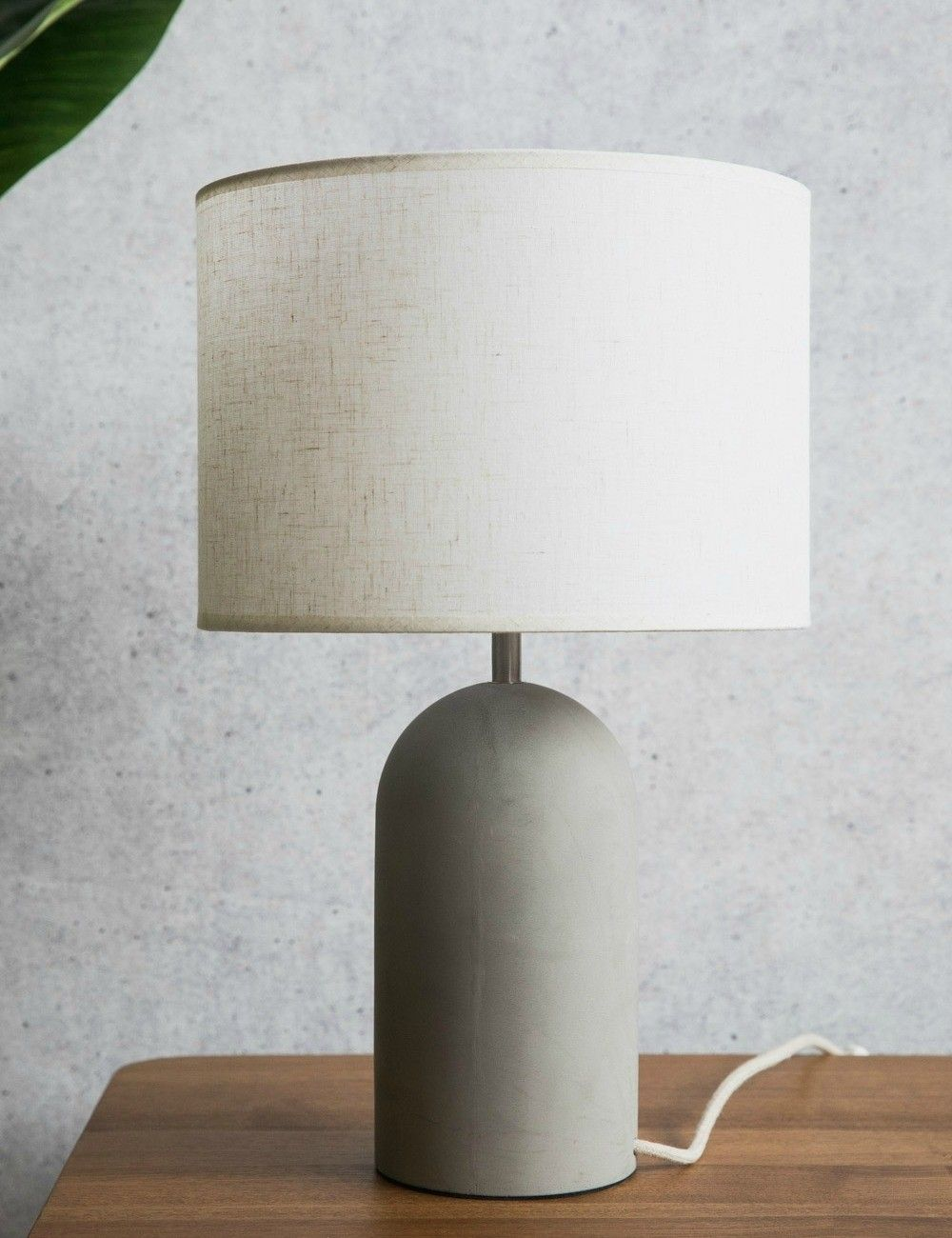Large concrete table lamp in front living room ideas
