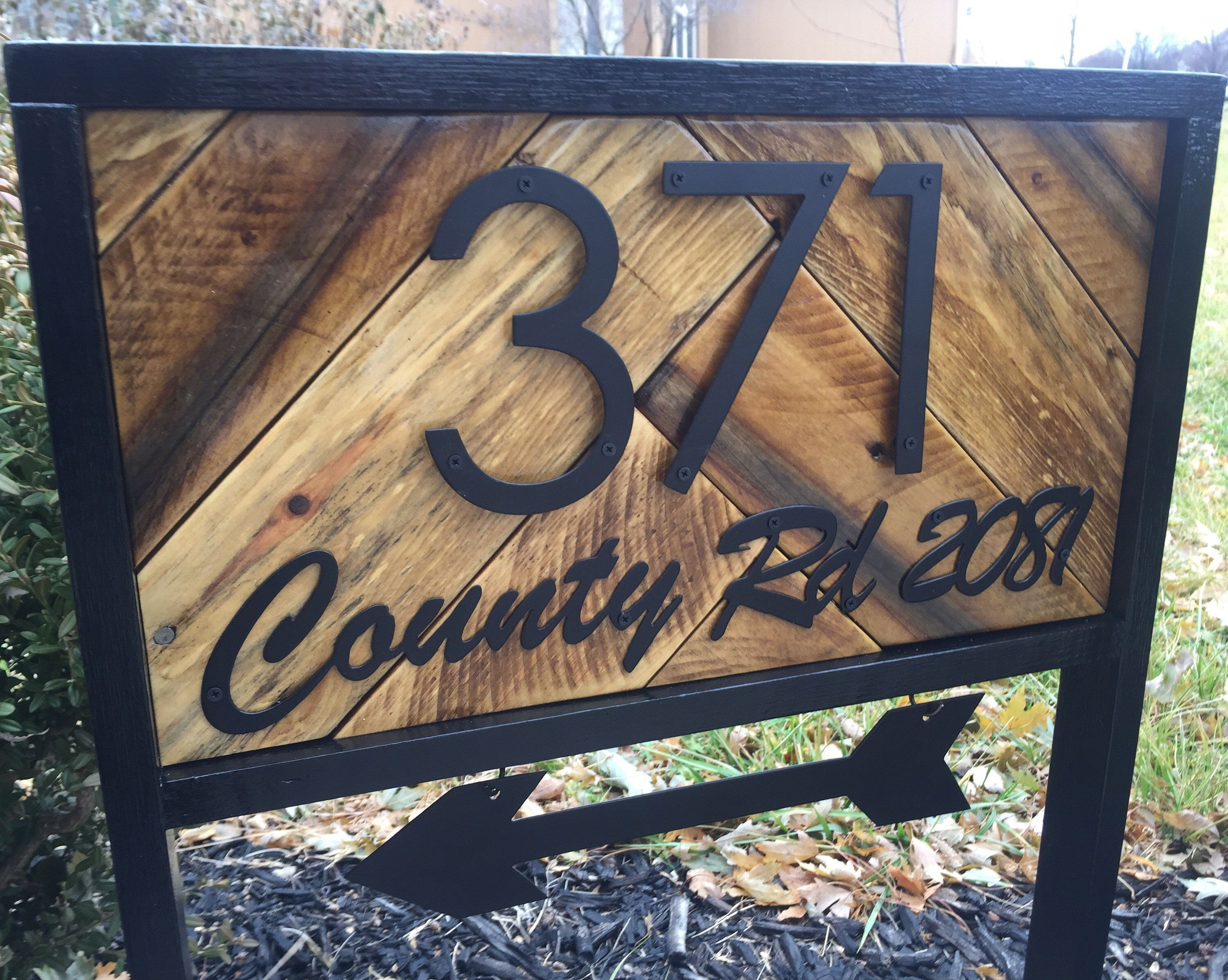 Street Name Address Stake With Arrow Reclaimed Wood House Number Sign W Street Name Farmhouse Address Yard Sign Arrow Address Signs For Yard House Number Sign House Numbers