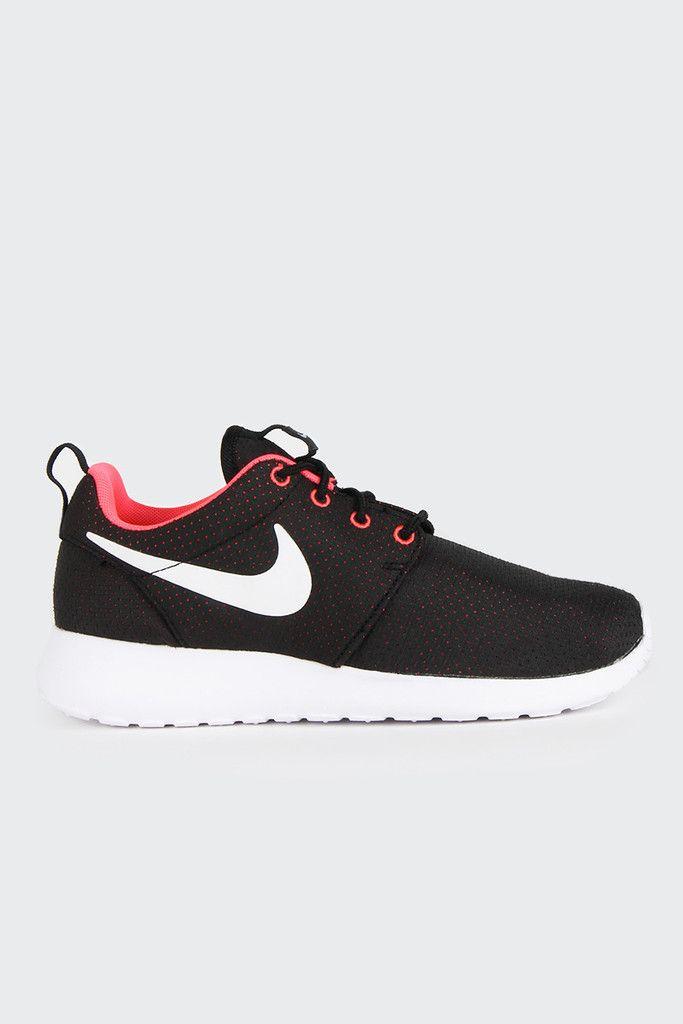 nike roshe run womens shoes black white hyper punch nz