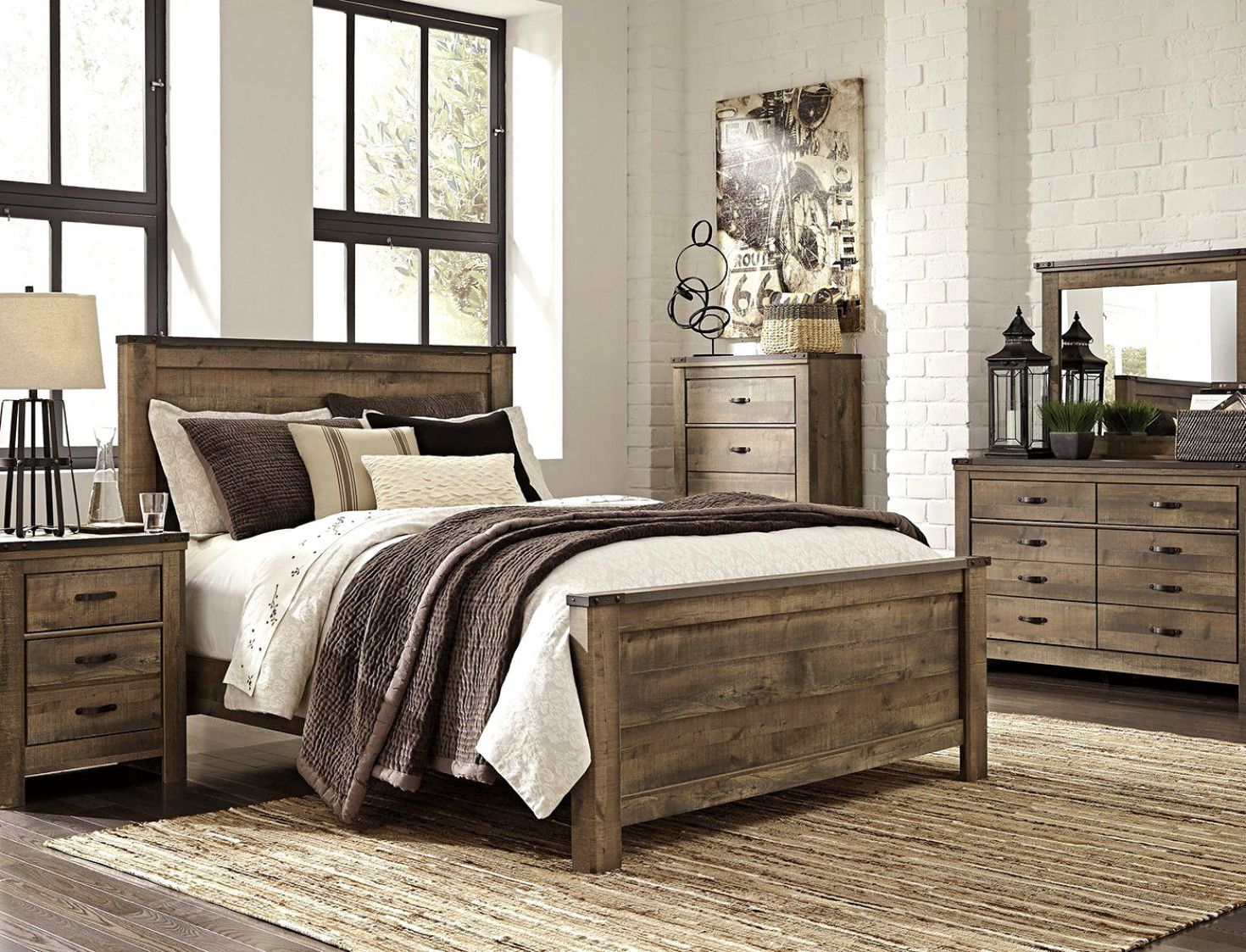 Trinell King Panel Bed King bedroom sets, Wood bedroom