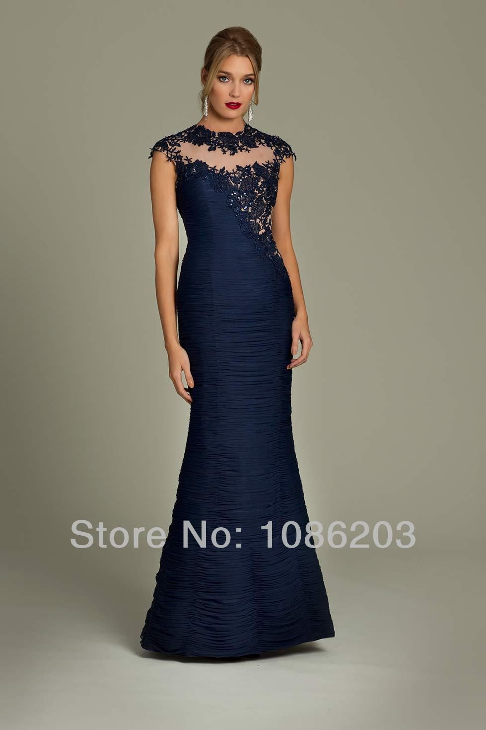 Online Shop Navy Blue Prom Dresses Designer Party Dresses Illusion ...
