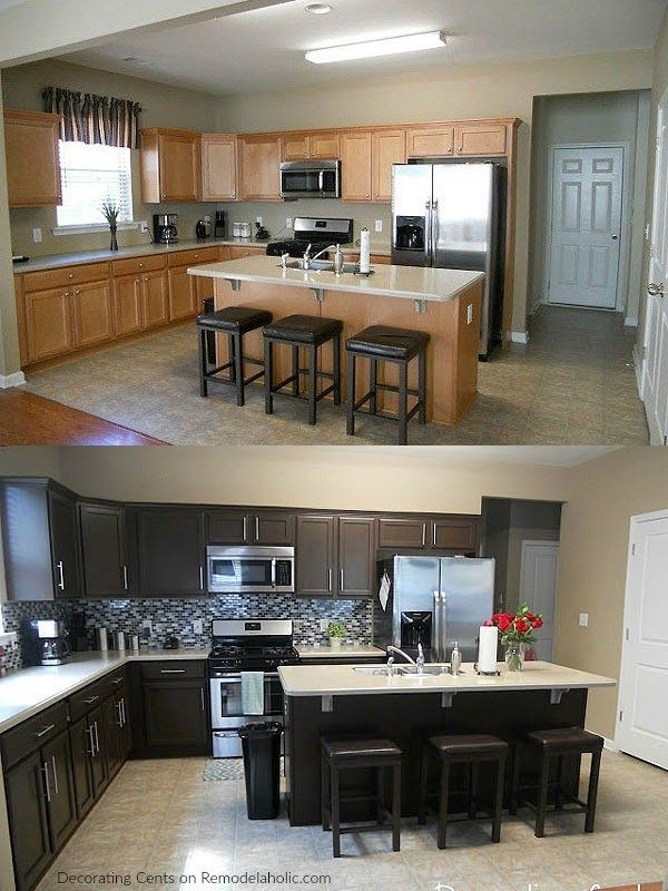Best Before After Chocolate Brown Cabinets Using Rustoleum 640 x 480
