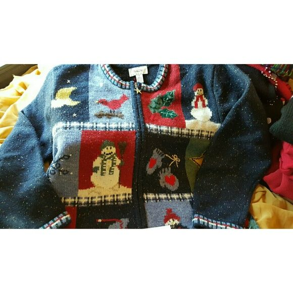 Christmas Sweater Talbots M Holiday Cardigan | Sweater cardigan ...