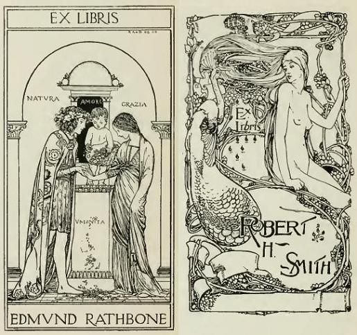 Ex libris (bookplates) by R Anning Bell (left), H Nelson (right)