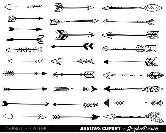 Arrows Clip Art, Tribal Arrow Clipart, Archery Hand Drawn