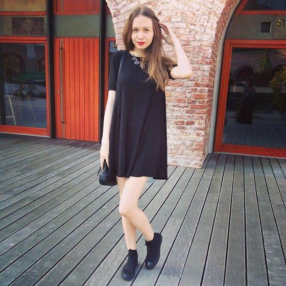 Zara Black Dress, All Black Converse