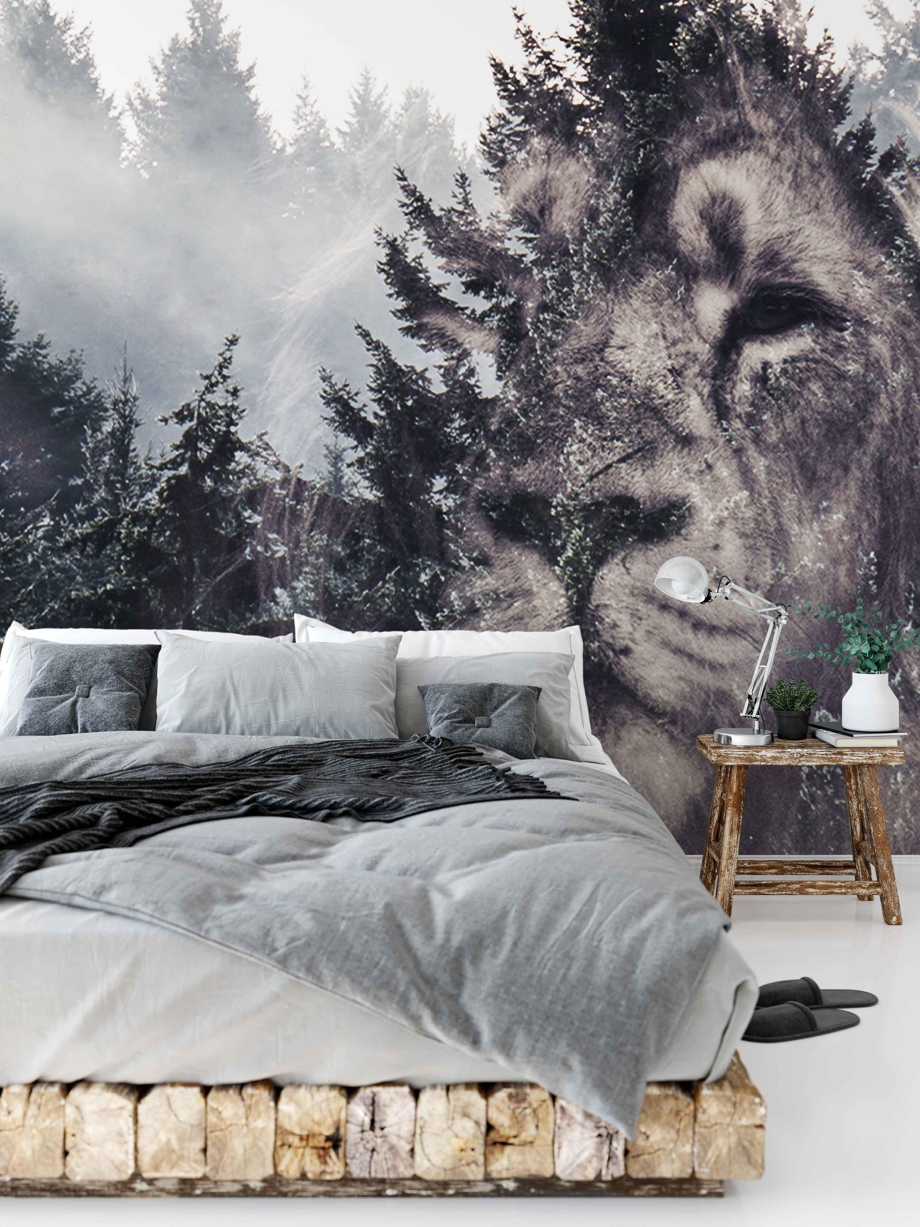Lion Forest Wallpaper Mural Removable Wall Murals Mural Wallpaper Mural Design