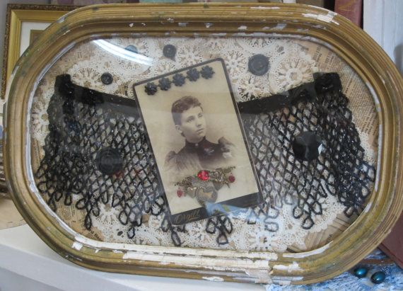 Antique Curved Glass Frame Containing Vintage by bluebirdjunction ...