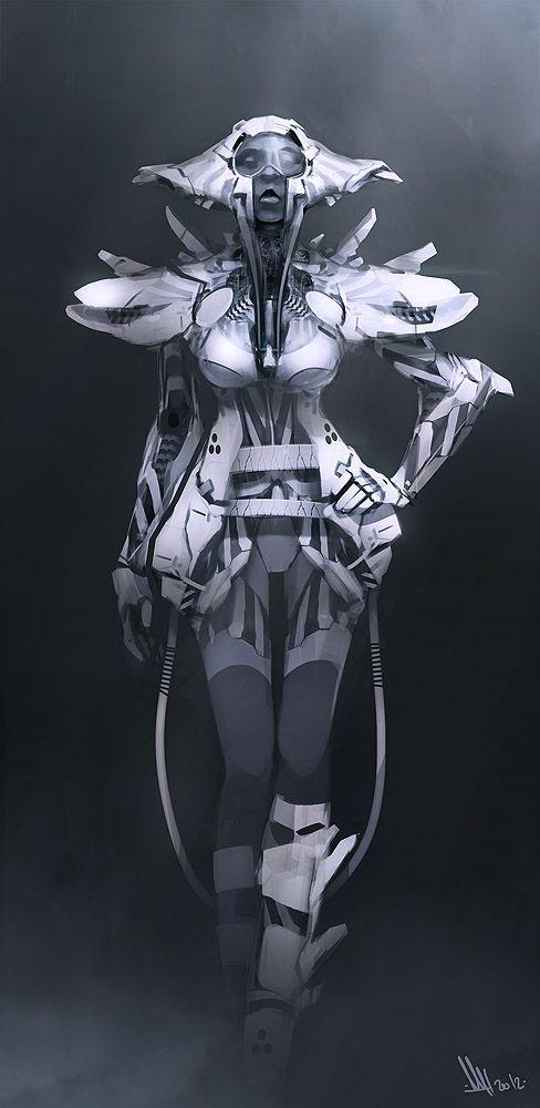 Space Fashion by ~MatLatArt # cyberpunk, robot girl, cyborg, futuristic, android, sci-fi, science fiction, cyber girl, digital art
