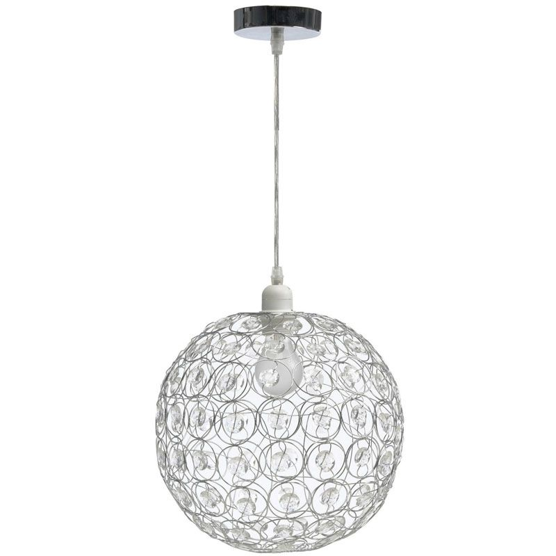 Suspension de plafond design en forme de boule pampilles for Luminaire suspension boule