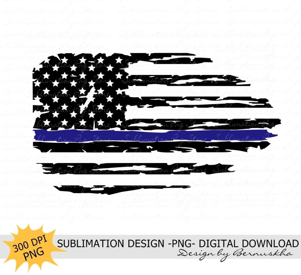 Distressed Police Flag Sublimation Png Police Flag Etsy Police Flag Sublime Blue Line Flag