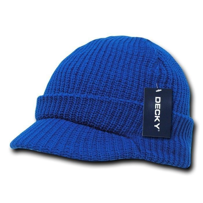 New Royal Blue Visor Beanie Jeep GI Military Ski Watch Cap Caps Hat Hats  Beanies 380e5a7fee3e