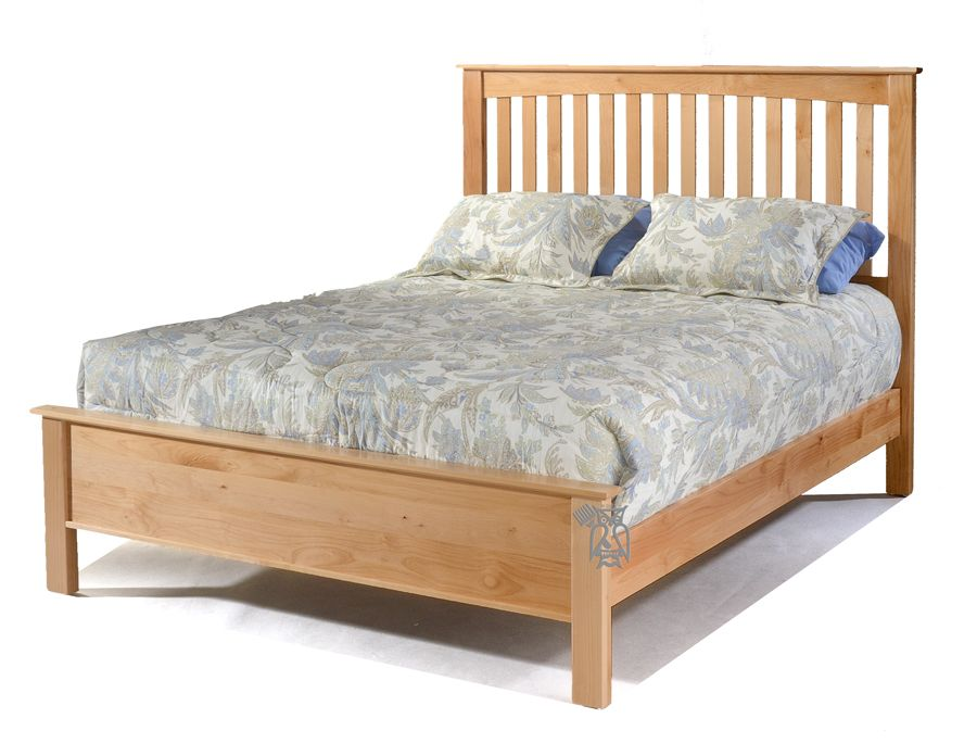 Solid Alder Wood Shaker Queen Size Slat Bed With Low Footboard In Natural Finish Bed Furniture Bed Slats Platform Bed With Storage
