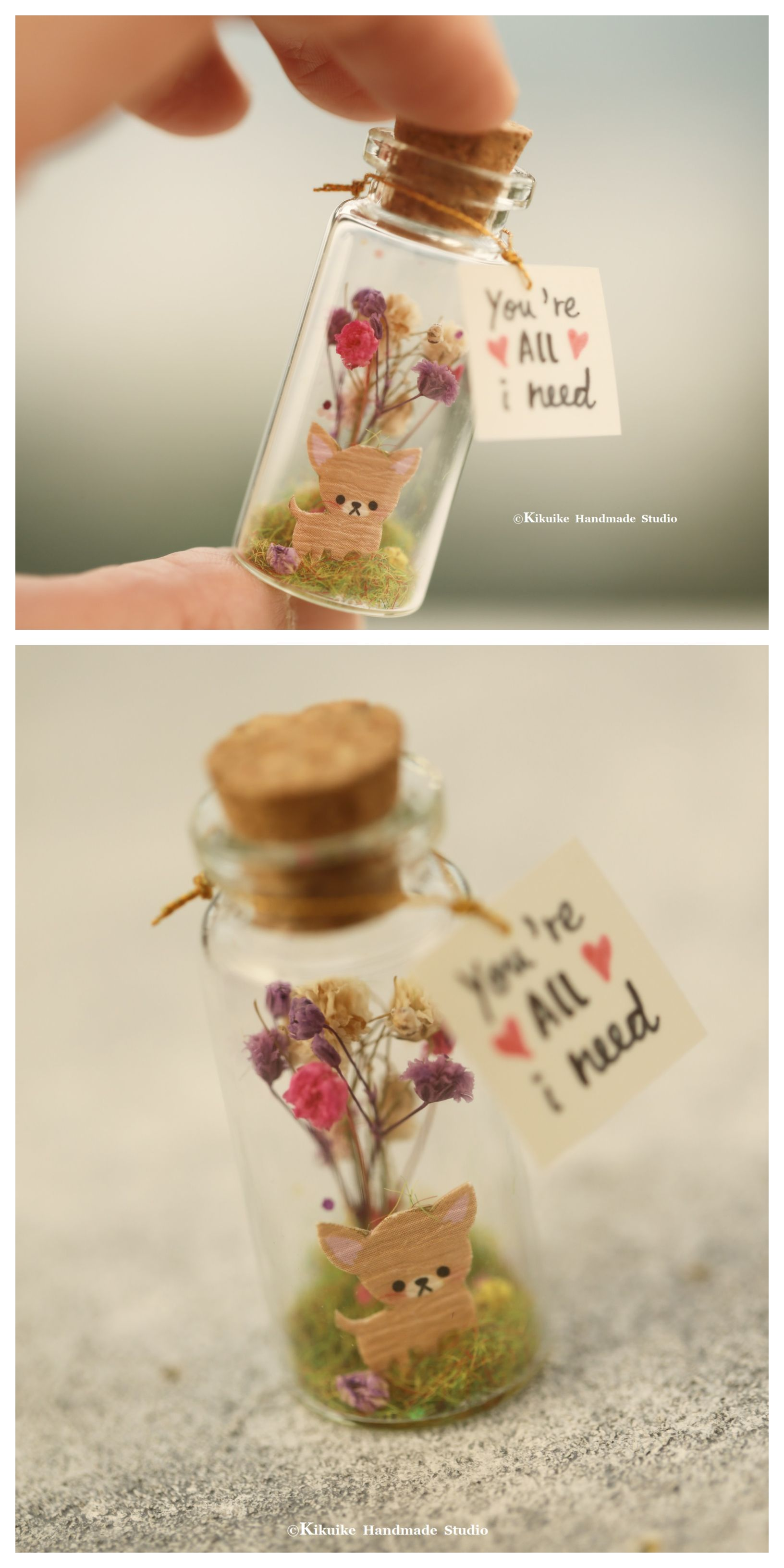 Tiny Chiwawa Chihuahau And Flowers Decor Message In A Bottle