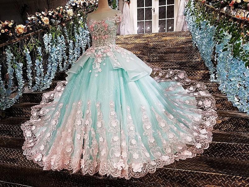 Light Blue Lace Flower Trailing Wedding Dress Sweet 16 Dress In