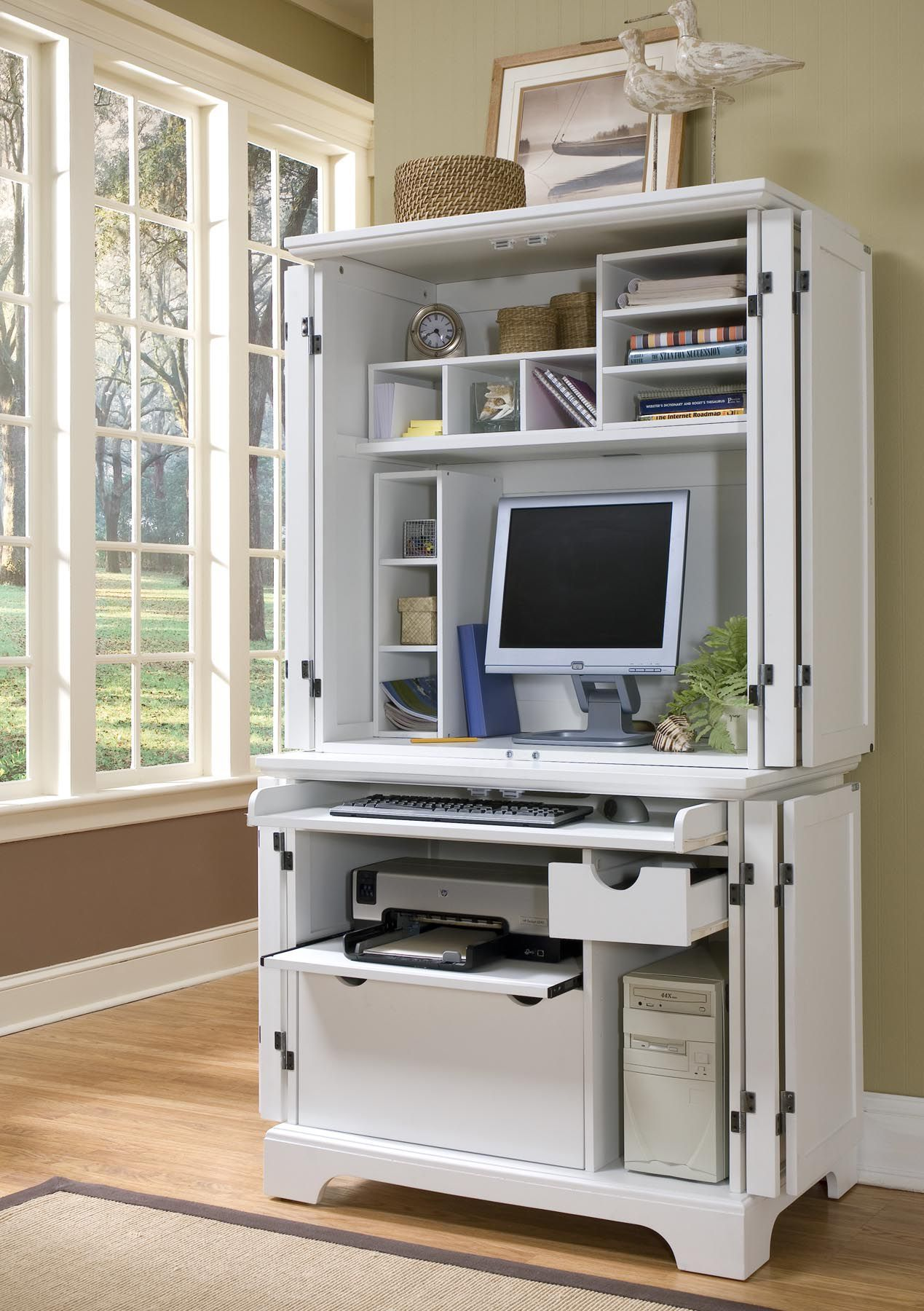 White Modern Computer Armoire With Accessories Compact Computer Desk Home Office Design Home Office Furniture