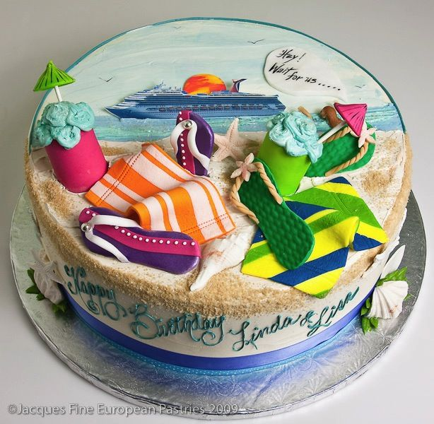 Edible Beach Themed Cake Decorations: Adult Cakes: All Occasion