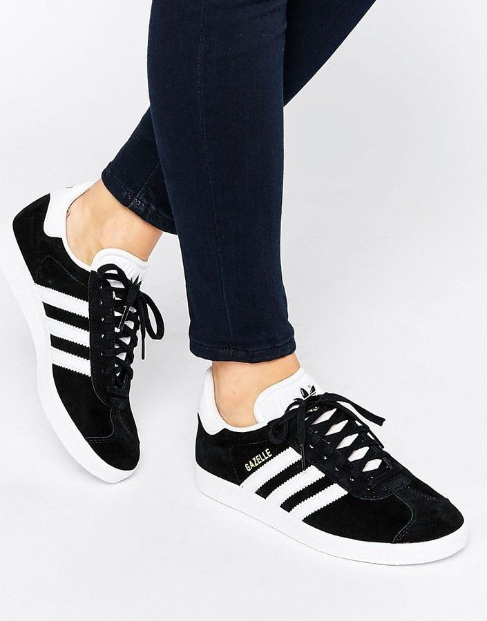 adidas originals black gazelle trainers with velvet stripes