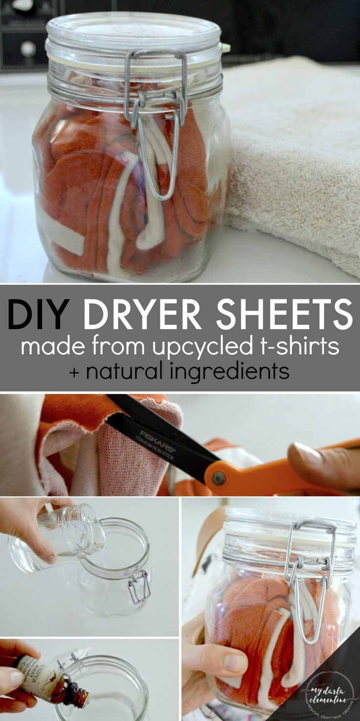 DIY natural dryer sheets tutorial using vinegar essential oils and upcycled tshirts to soften laundry and boost scent Nontoxic cheap and easy  Rubies  Radishes