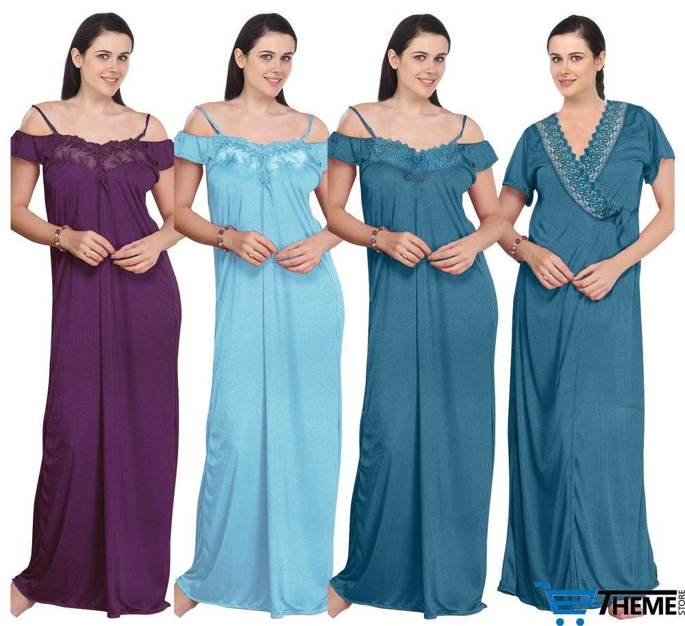eca29c91c3 Ladies long nightie womens nightwear set satin robe gown 2 pc 8-14 ...