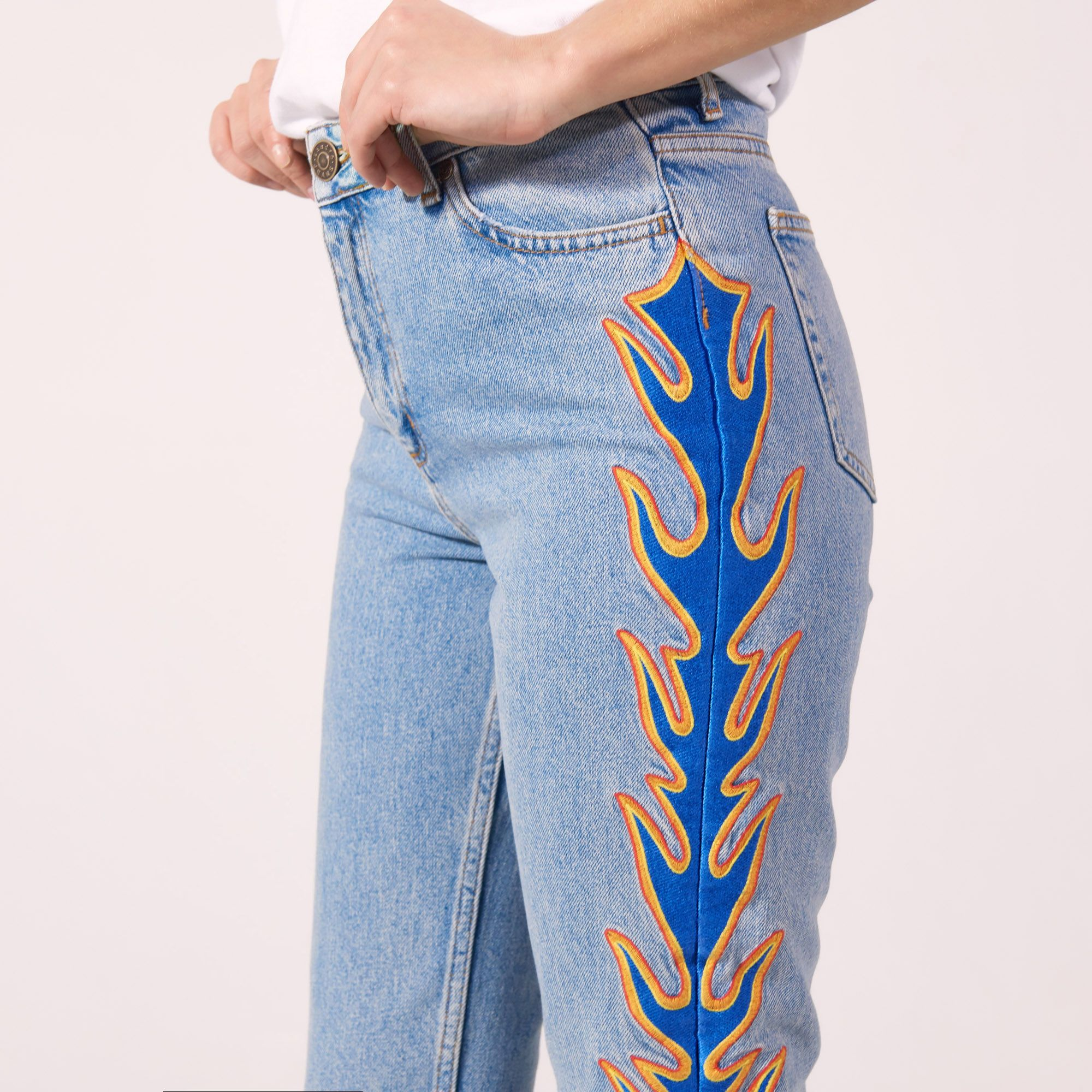 Girlfriend-Jeans mit Foulard Sandro Klassische Online-Verkauf Steckdose Am Besten 1GWdk9G