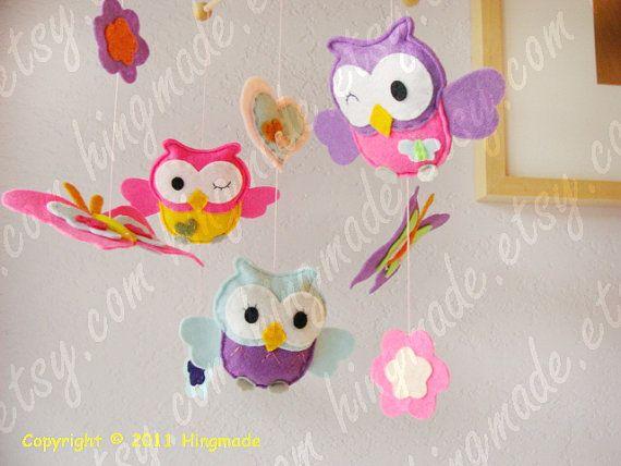 Nursery Mobile  Baby Crib Mobile  Owl Mobile Pink by hingmade, $95.00