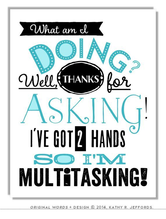 Funny Office Wall Art. Multitasking Typographic Print. Office Quote Decor.  Typography Print.