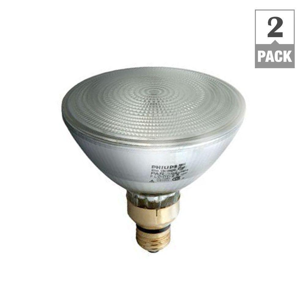 Philips 90 Watt Equivalent Halogen Par38 Dimmable Indoor Outdoor Flood Light Bulb 2 Pack