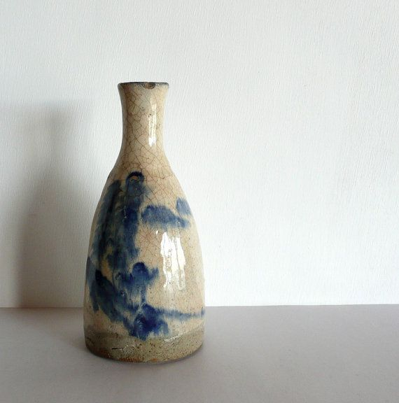 Small Ceramic Vasesake Bottle Japanese Antique Trees And