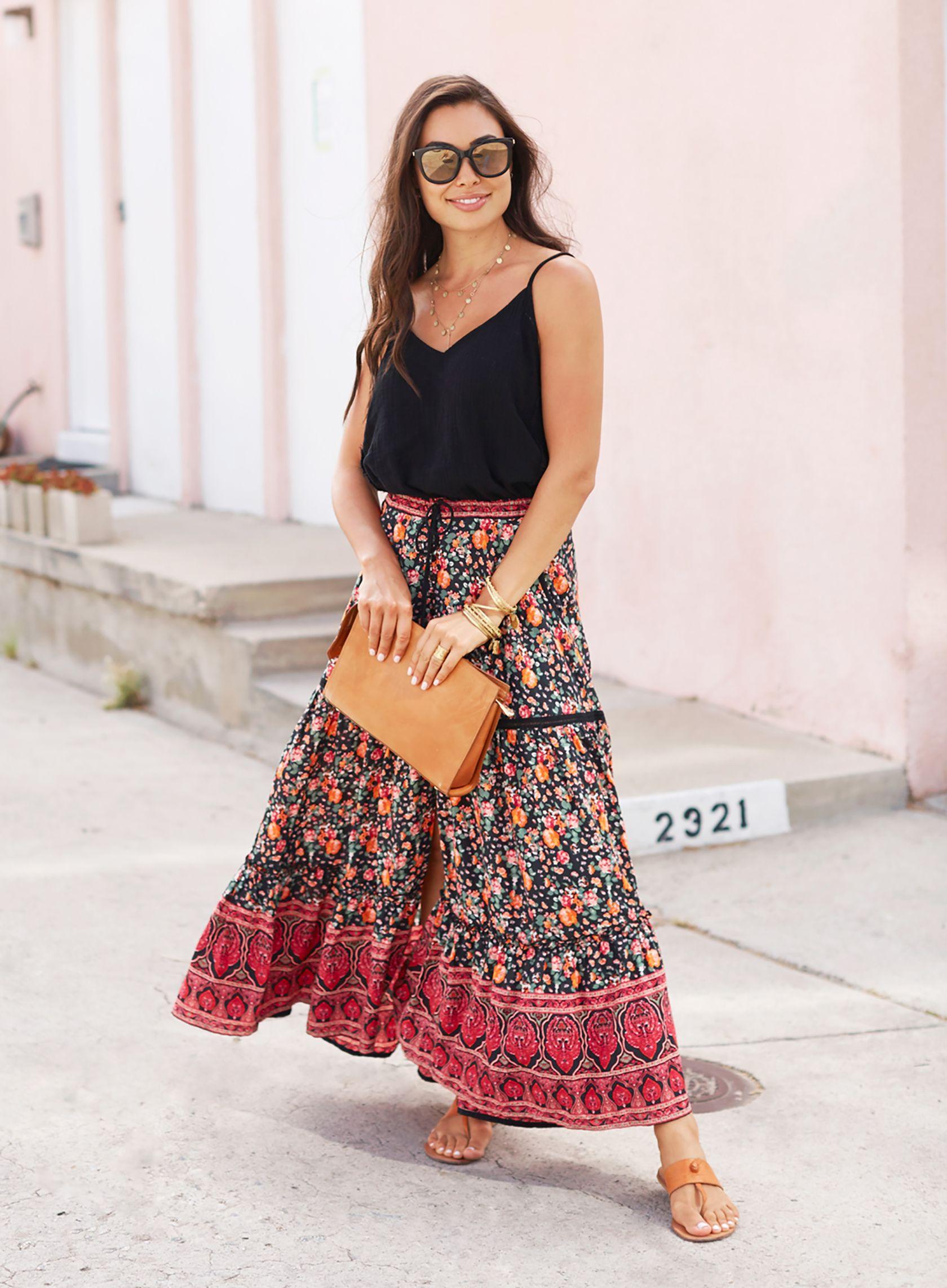 Six Ways To Wear A Maxi Skirt 2018 Summer Outfits Summer Fashion Outfits Trendy Summer Outfits Spring Summer Fashion [ 2286 x 1680 Pixel ]