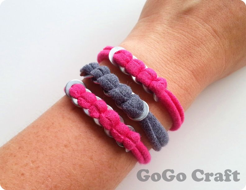 Upcycled t-shirt & washers make a cute bracelet. From GoGo Craft