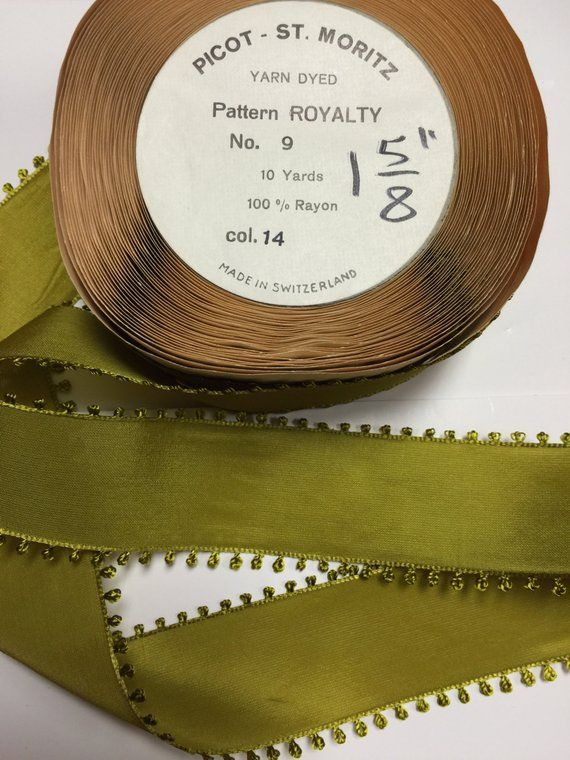 10 Yards Of Vintage Ribbon Pretty Green Moss With A Picot Etsy Vintage Ribbon Pretty Green Ribbon