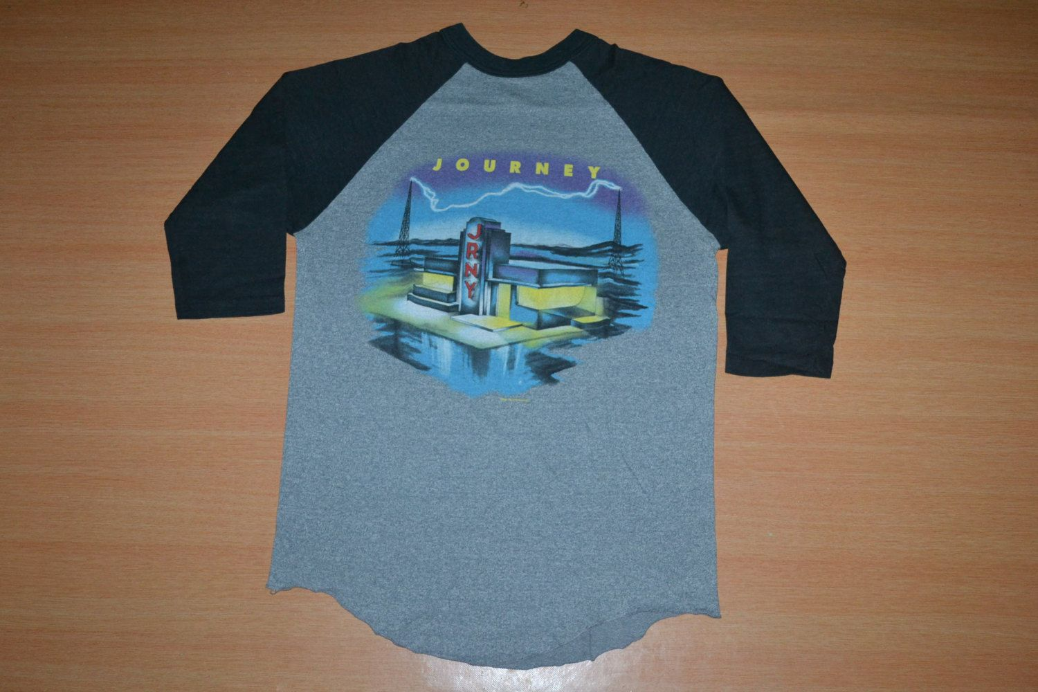 6c93fd0dd3a1 Vintage 1986 JOURNEY Raised On Radio World Tour Concert promo very rare 90s  80s T-shirt Baseball Jersey by OldSchoolZone on Etsy