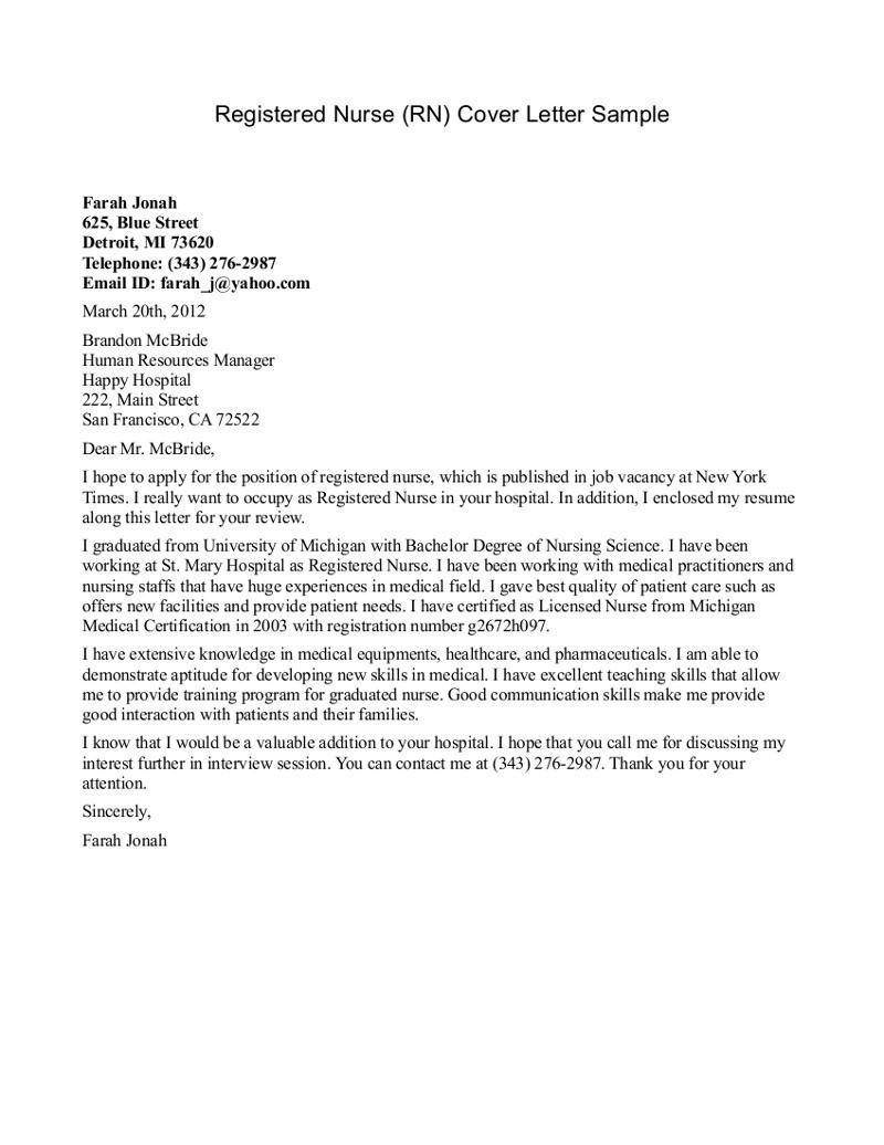 New Graduate Registered Nurse Cover Letter Cover Letter For Resume Nursing Cover Letter Nurse Cover